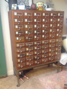 Antique 60 drawer library cabinet