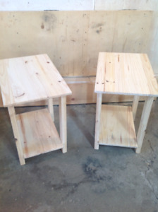 Solid Pine Unfinished pair of end tables brand new