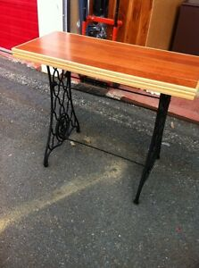 One of a kind wood and rot iron hall table