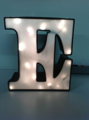 Letter E Commercial Sign Lighted Aluminum Body Plastic Face Used O4