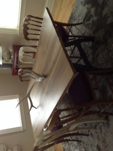 Solid Walnut Dining Table and 6 Chairs