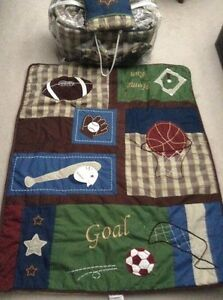 Crib quilt and bumper- sports theme - EUC