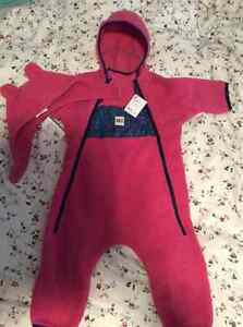 Girls 6 month MEC hat and snowsuit brand new with tags