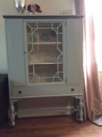 Shabby Chic China Cabinet Solid Wood