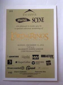 Lord of the Rings The Two Towers unused ticket London Ontario image 2