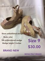 Nude embroidered wedge sandals size 9