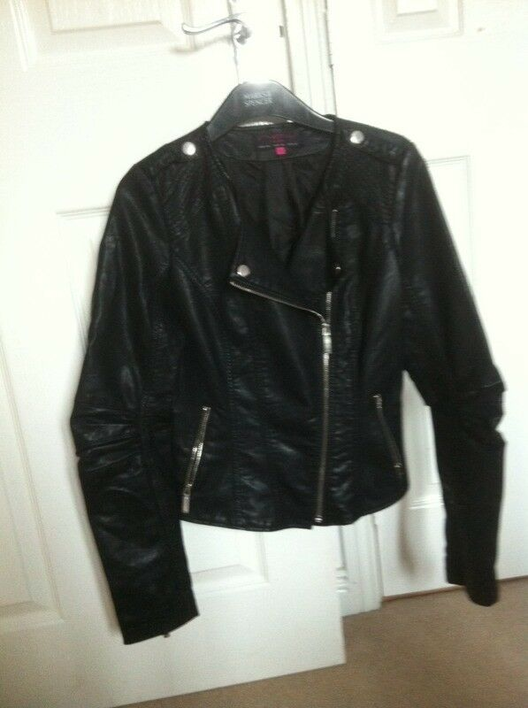 Black leather look jacket