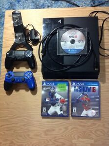 PS4, MLB The Show 15/16, NHL 16, 2 controllers and charger