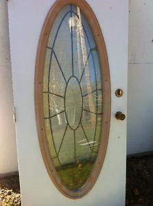 Porte avec Vitrail , poignier et clée et porte de protection