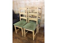 SET OF FOUR MATCHING SOLID LIGHT OAK DINING CHAIRS