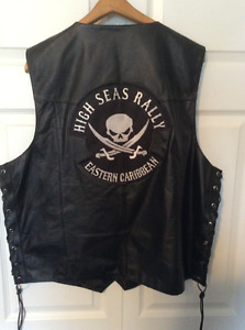 High Seas Rally Carribean cruise commemorative leather vest XL