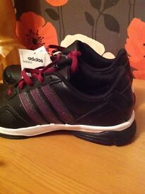 New black and purple Adidas trainers size 4 1/2.