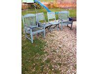 4 solid teak wooden garden chairs
