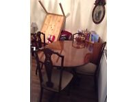 Mahogany extended dining table and 4 chairs