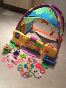 Baby activity tent and toys