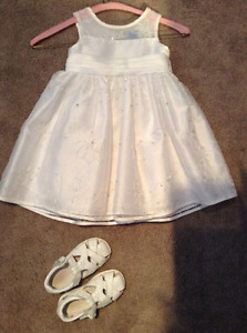Flower girl dress and shoes white
