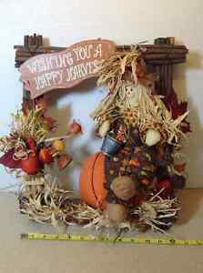 "Wishing You A Happy Harvest rustic wood sign - 14"" x 16"""