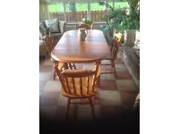 Farmhouse style table solid pine extendable