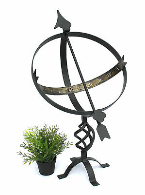 Sundial Black from Metal Wrought Iron Weatherproof 72 CM Sun Dial Clock Garden