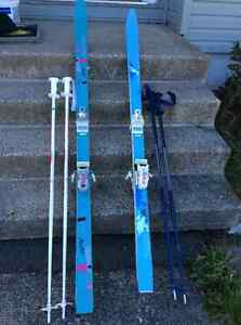 Downhill skis and poles