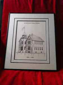 Framed Drawing of Devine Street Public School.