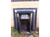 Cast iron fireplace with chimney flue