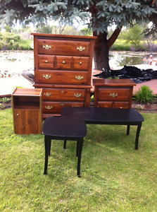 Furniture: dresser, night table, coffee table. Good quality.