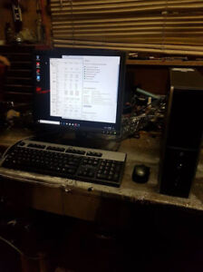 Quad Core small form factor PC monitor keyboard and mouse