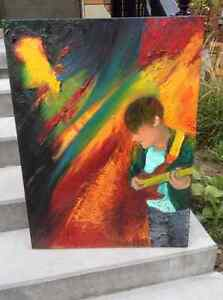 'by the water' and 'guitar player' oil paintings London Ontario image 2