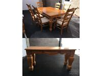 Solid wood dining table 6 seater & sideboard. Great renovation or upcyle project