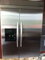 """KitchenAid 48"""" built-in side-by-side stainless steel fridge"""
