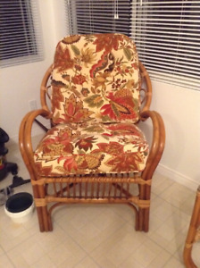 Rattan 3 piece love seat set with new cushions