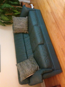 Teal Green Leather Loveseat & Sofa - Excellent Deal!