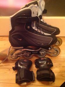 patin a roue allignées + portecteur de mains