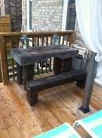 Rustic wood table and bench