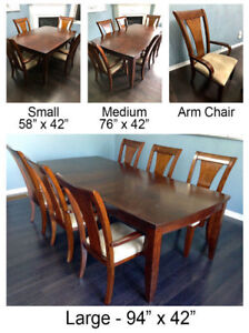 Expandable - Wooden Dining Table Set - 6 Arm Chairs