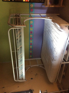 White metal frame bunk bed/couch