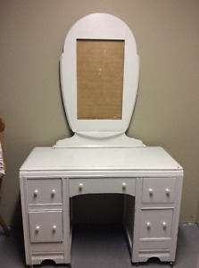 Antique vanity, mirror, bench and tall dresser