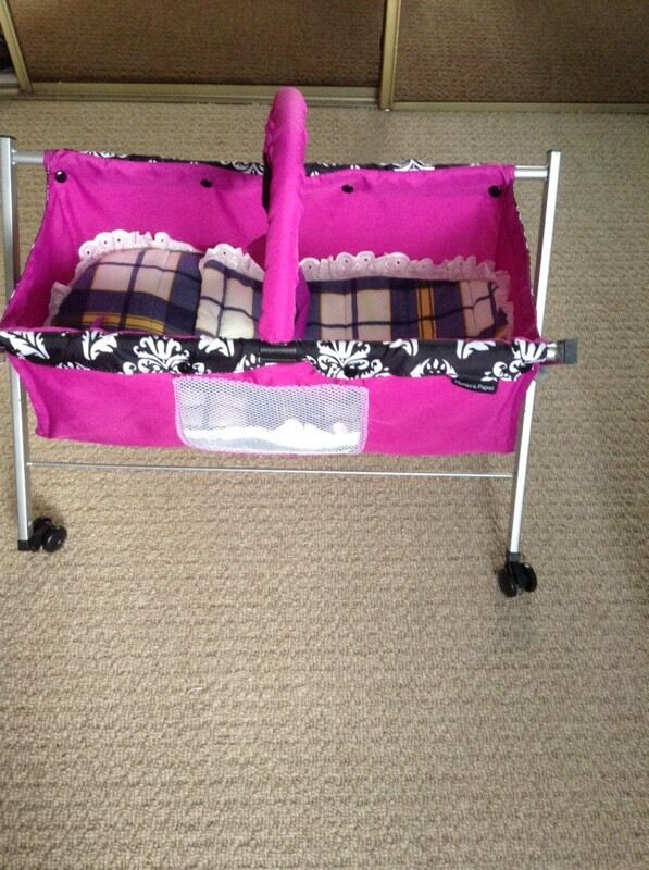 Mamas Papas Dolls Folding Cot On Wheels With Mobile