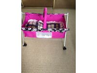 Mamas /papas. Dolls folding cot on wheels with mobile /bedding