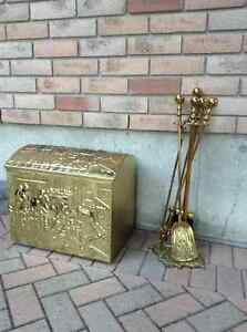 Brass Decorative Wood Storage Chest & Fireplace Tools Belleville Belleville Area image 1