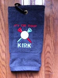 Personalized golf towels.