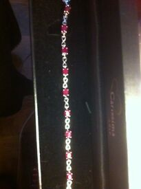 Garnet and silver braclet