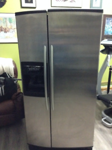 Stainless steel Kitchen Aid Superba side by side Fridge and Free