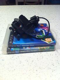 Playstation 3 eye toy camera & 2 games ps3
