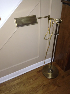 Adjustable vintage brass reading lamp for sale