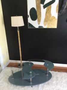 Glass coffee table, lamp, MUST be sold....reduced!