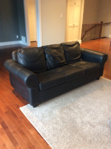 IKEA Black Leather Couch (2 Available)