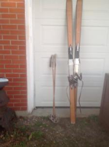 Vintage skiis and poles