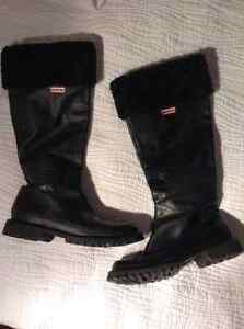 Genuine Leather Hunter Brand Winter Boots, Sheepskin Cuffs